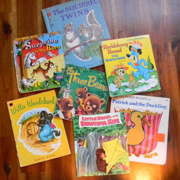 7 Vintage Children's Books Featuring Animals 1950's-1960's