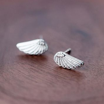 Genuine real. 925 Sterling Silver jewelry Angel Wings Birds Feather Stud Earrings Fashion GTLE169 Anti-allergy