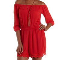 Poppy Red Crochet-Trim Off-the-Shoulder Romper by Charlotte Russe
