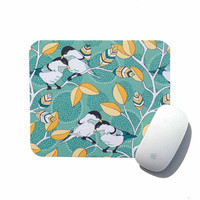 Mouse Pad Chickadee Bird / Holiday Home Gift / Aqua Yellow Desk Accessory / Office Decor