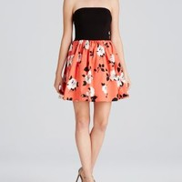 AQUA Dress - Strapless Floral Skirt