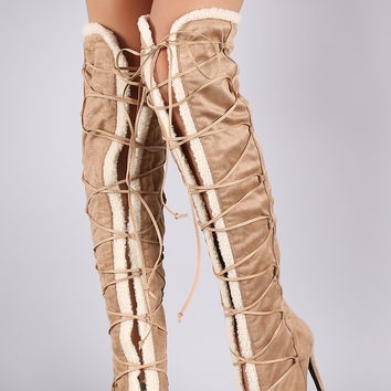 Privileged Shearling Trim Peep Toe Lace Up Stiletto Boots