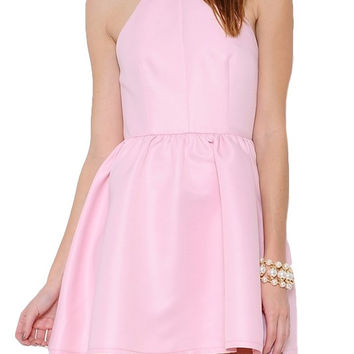 Astor Fit & Flare Open Back Dress - Light Pink