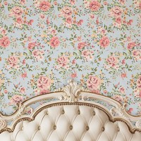Cream Ivory Tufted Headboard With Pink Rose Printed Backdrop - 6205