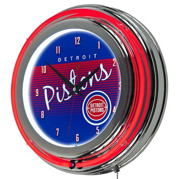 Detroit Pistons Game Room Premium Neon Clock
