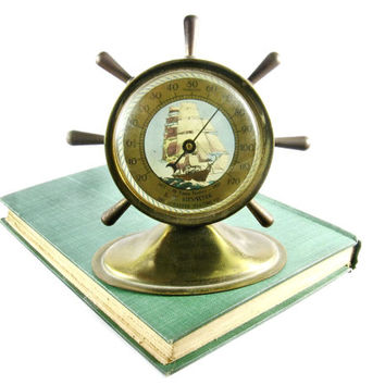 Vintage Brass Ships Wheel Thermometer / 1950s Nautical Design Home Decor / Sail Boat / Advertisng Thermometer