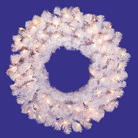 "Crystal White Wreath Dura-Lit 100CL (36"")"