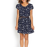 FOREVER 21 GIRLS Floral Print Pocket Dress (Kids) Navy/Cream