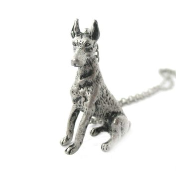 Doberman Pinscher Puppy Dog Shaped Animal Pendant Necklace in Silver