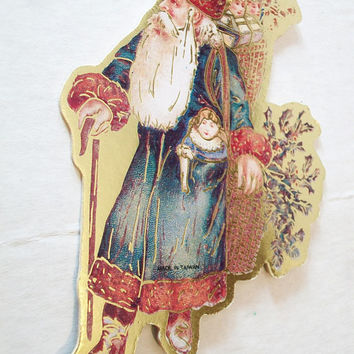 Victorian Style Santa Claus Christmas Ornament Cardboard Paper Die Cut Lithograph Vintage Holiday Home Decor Taiwan