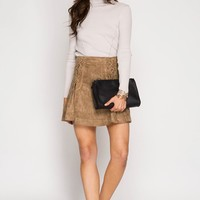 Taupe Faux Suede Lace Up Mini Skirt (final sale)