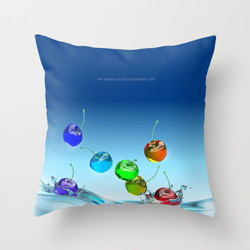Rainbow Che-rries Splash Throw Pillow by THE-LEMON-WATCH