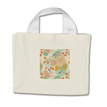 Modern Rose Peony Flower Pattern Tiny Tote Bag