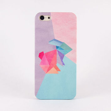 Bunny iPhone case, iPhone 5 case, iPhone 4 case, Samsung Galaxy Note 3 - 3D Wrap around case - Pastel watercolor pattern