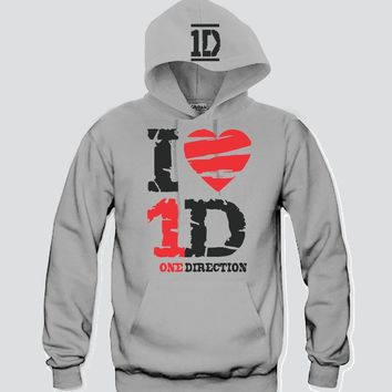 "I Heart 1D ""2Prints"" Unisex Hooded Sweatshirt Funny and Music"