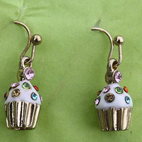 Adorable Cupcake Earrings, Gold Toned with Multicolored Accent Rhinestones