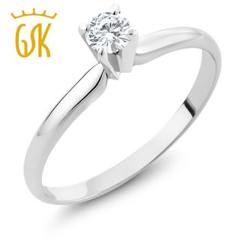 GemStoneKing IGI Certified Natural Diamond-Jewelry 0.15 CT Round Cut Diamond 14K White Gold Solitaire Engagement Ring For Women