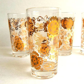 Vintage FOUR Retro Gold Flower drinking glasses, tumblers, shiny gold metallic and orange ornate floral iced tea