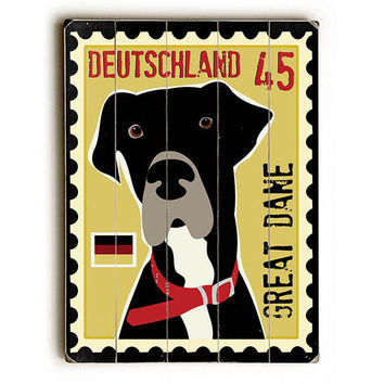 Great Dane Postage Stamp by Artist Ginger Oliphant Wood Sign