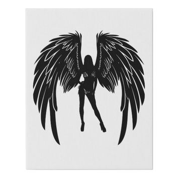 Bikini Angel Silhouette Pinup Girl Art Faux Canvas Print