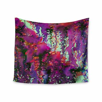 """Ebi Emporium """"PERFECT STORM 2, MAGENTA"""" Magenta Purple Abstract Nature Watercolor Painting Wall Tapestry"""