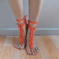 Orange Barefoot Sandals, Wedding Sandals, Foot jewelry, Bridesmaid gift, Barefoot sandles, Beach, Yoga, Anklet, Bellydance