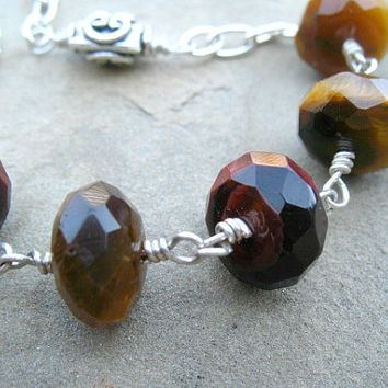 Tiger Eye Bracelet - Brown Adjustable Bracelet - Sterling Silver Jewelry