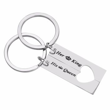 """Cool """"Her King & His Queen"""" Couple Keychain Lover Heart Key Chain Keyring Customized Custom Names llavero for Valentines DayAT_93_12"""
