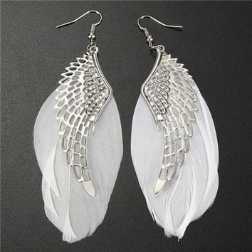 VONGB5 1 Pair Retro Lady Women Angel Wings Feather Earrings Ear Stud Alloy Jewelry (Color: White) = 1945829444