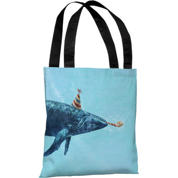 """Party Whale"" 18""x18"" Tote Bag by Terry Fan"