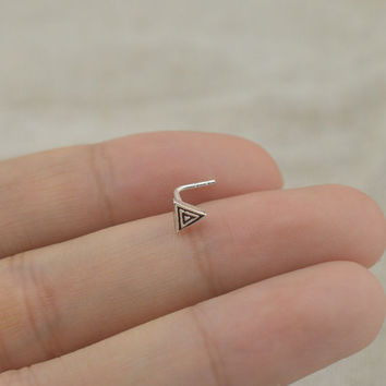 triangle nose ring,sterling silver nose ring,L shaped nose ring,vintage triangle