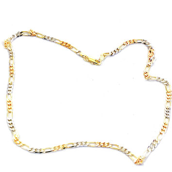 4mm Tri Color Figaro 18kts Gold Plated Chain