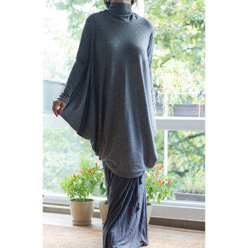 Plus Size Turtle Neck Top / Loose Oversize Tunic / Long Asymmetric Raglan Sleeves / Loose Winter Dress/ Dark Grey/SW002