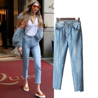 Women's Fashion Denim Summer High Waist Cropped Pants [10399193869]