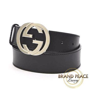 Gucci interlocking grip G buckle belt leather black 85cm Free Shipping