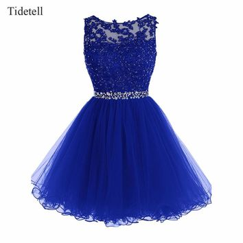 Tidetell Prom Dress Scoop Neck Sleeveless Knee-Length Prom Gown High Quality Chiffon Party Dress Appliques Beading Prom Dress