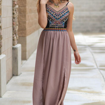 Moroccan Gypsy Embroidered Maxi Dress (Taupe)