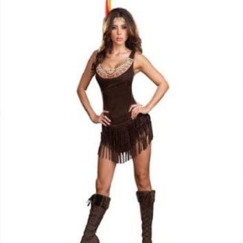 Sexy Pocahottie Indian Halloween Costume size Large