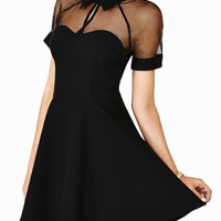 Black Short Sleeve Cut-Out Mesh with Pointed Flat Collar Skater Dress