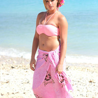 Pink Sarong Beach Cover Up Hibiscus Flower Hand Painted