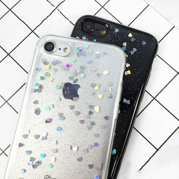 iPhone 7 6 6s Plus Case Luxury Glitter Bling Love Heart Phone Cases Flash Powder Soft TPU GEL Back Cover Coque Fundas Shell