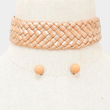 "12"" woven faux leather choker collar necklace .50"" earrings  1.40"" wide"