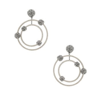 Oscar de la Renta Beaded Orbit Earrings in Silver | FWRD