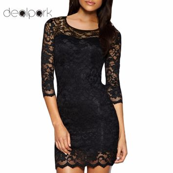 2018 Summer Bodycon Dress Women Lace Dress OL Floral Prom Gowns O-Neck Sexy Slim Elegant Lady Evening Mini Party Dresses female