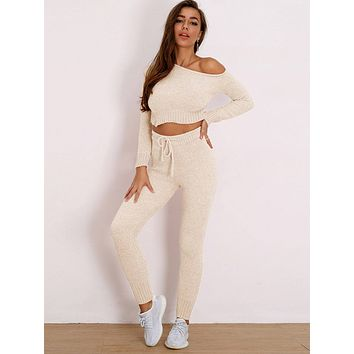 Joyfunear Solid Crop Top & Drawstring Pants Set