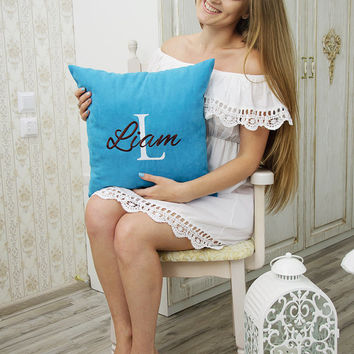Personalized Pillow Covers Custom Pillowcase Boy Name Initial Decorative Monogram Pillow Cover Home Decor Monogrammed Throw Pillows Gift V15