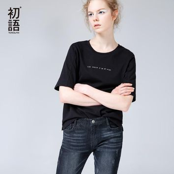 Toyouth 2017 Summer New Arrival Women Cotton O-Neck Collar Letters Embroidery Half Sleeve T-Shirts All Match Loose Tops