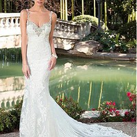 Buy discount Elegant Tulle Spaghetti Straps Neckline Mermaid Wedding Dresses with Lace Appliques at Dressilyme.com