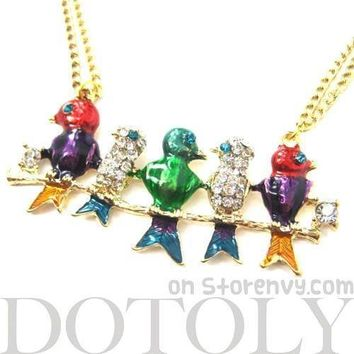 Colorful Birds on a Branch Animal Pendant Necklace with Rhinestones