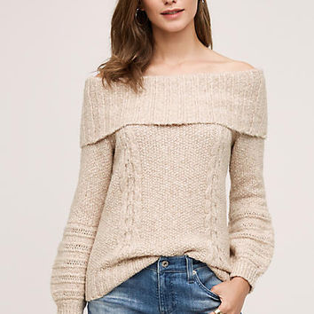 Cabled Off-The-Shoulder Pullover